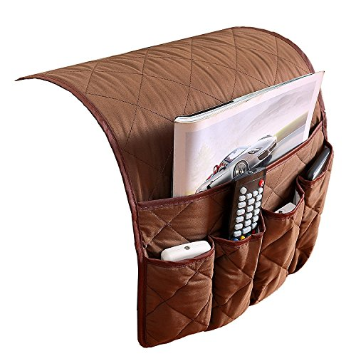 Arm Bed Sofa (Couch Sofa Armrest Organiser Chair TV Remote Holder Bed Storage Pocket Bag for Cellphone Tablet Notepad Book Magazines DVD Eyewears Drinker Snacks Holder Pouch)