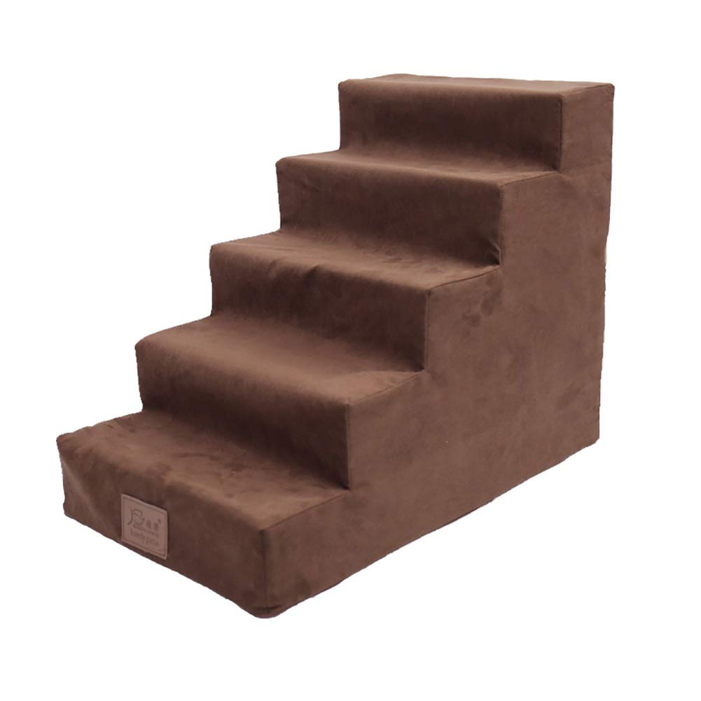 Pet 5 Step Stairs for High Bed, Dog Cat Step Stool for Bed Sofa Puppy Activity Ladder Supplies Washable Cover