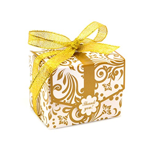 Floral Pattern Favor Boxes - Floral Pattern Candy Favor Box with Ribbon for Wedding Party Decor Gift Wrap, Pack of 50, Golden
