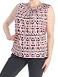 Nine West Womens Plus Printed Criss-Cross Tank Top Pink 1X