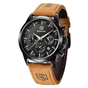 BENYAR Montre Homme Montres Etanche Chronographe Lumineuses Classique Montres Bracelet en Cuir Grand Cadran Date…