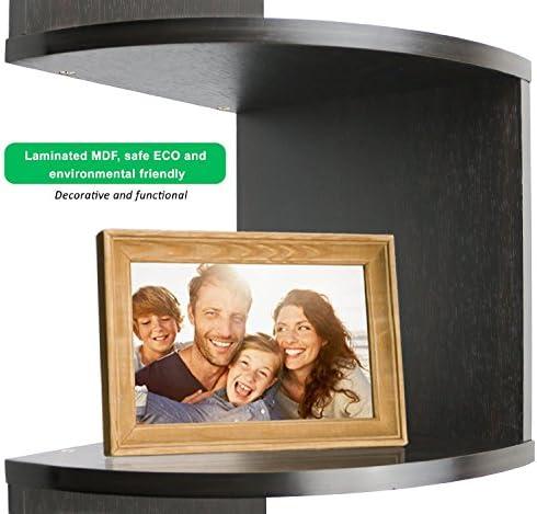 """Greenco 5 Tier Wall Mount Corner Shelves Espresso Finish , 7.75"""" L x 7.75"""" W x 48.5"""" H."""