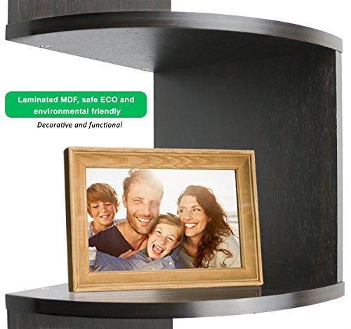 """Greenco 5 Tier Wall Mount Corner Shelves Espresso Finish , 7.75"""" L x 7.75"""" W x 48.5"""" H. 4"""