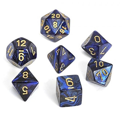 - Scarab Royal Blue With Gold Polyhedral 7 Die Set