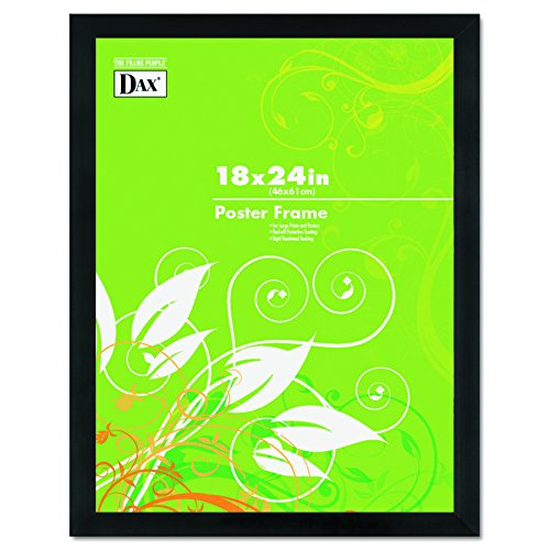 DAX 2863W2X Black Solid Wood Poster Frames w Plastic Window - Wide Profile - 18 x 24