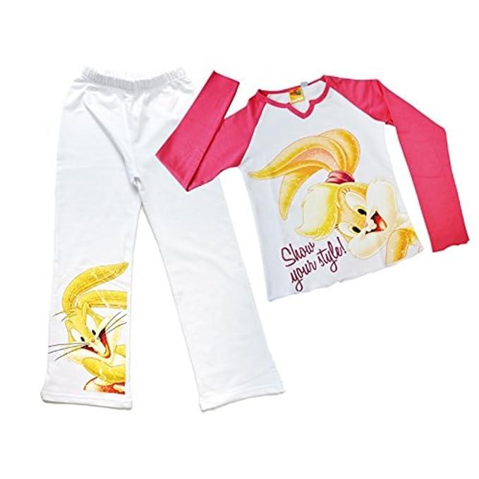 Pijamas de niña Looney Tunes (11/12 años, blanco púrpura)