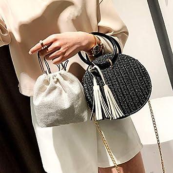 Casual Straw Tassel Ring H bag Chain Purse Mini Crossbody Bag Yellow