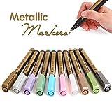 #9: Metallic Markers Pen,Medium-Tip,Glass Paint Writing,Painting Rocks,Black Paper,Photo,Album,Gift Card Making,DIY Craft Kids,10/Set