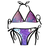Ladies Hawaii Tropical Island Coconut Palm Tree Printing Summer Sexy Two Pieces Swimsuit