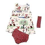 Baby Girls Woodlands Princess Dress+Dot Shorts Pants+Headband 3Pcs Clothes Set (Multicolor, 18M)