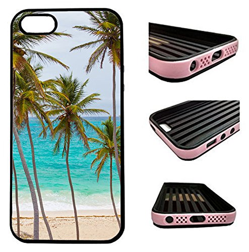 iPhone 5 Case / iPhone 5S Case / iPhone SE Case - Tropical Palm Tree On Beach - designer TPU case with drop protection-Unique 2-in-1 Hybrid protection with TPU + Plastic (Iphone 5s Palm Tree Case)