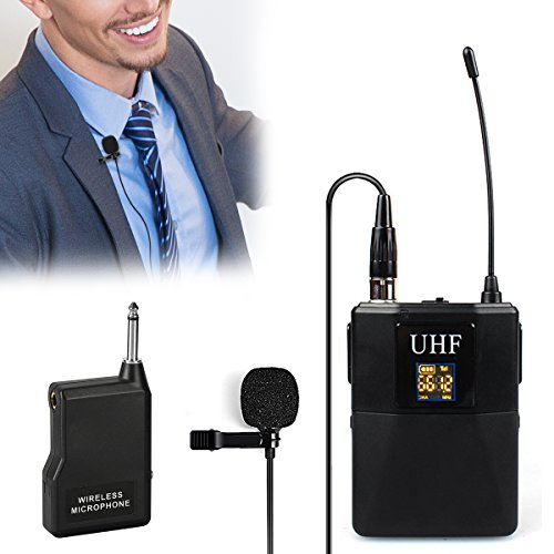 Wireless Lavalier Microphone,Hizek UHF Omnidirectional Mic System Audio with Bodypack Transmitter&Receiver, Supports Multiple Channels and Ideal for Teaching, Preaching and Public Speaking Application by Hizek