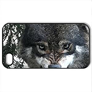 Angry face - Case Cover for iPhone 4 and 4s (Watercolor style, Black)