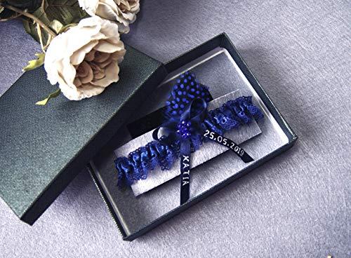 Personalisiertes Strumpfband blau Hen Night Hen Party Hochzeit Braut Brautkleid Unterwaesche Namensgeschenk Name