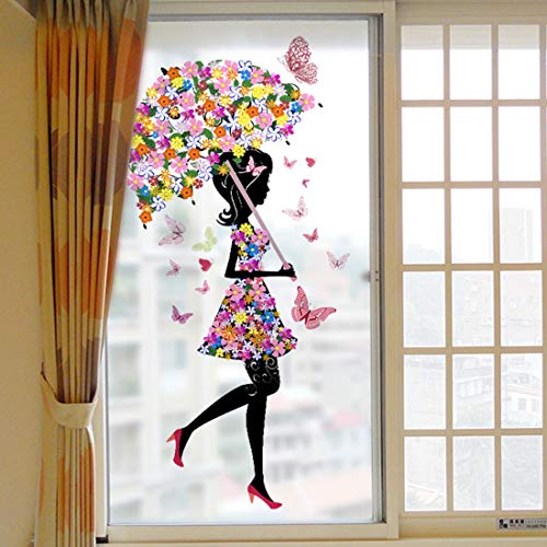 HUABOS Peel and Stick Static Cling Window Glass Frosted Film Self-Adhesive Removable Decal Sticker Flower Girl Mural Decoration for Bathroom Shower Door