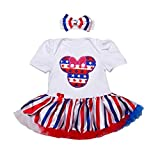 SHELLBOBO July 4th Baby Romper Stars Stripes Dots Girls Summer Clothes Toddlers Shirts Set with Headband (M(3-6M), color C)