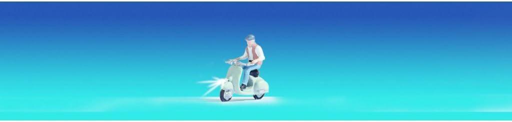 Motorrollerfahrer beleuchtet mit 2 LEDs und 1 Figur Noch 17511