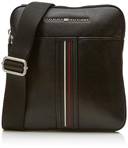 B Shoppers Hombre Hilfiger bolsos H Crossover Negro Leather Mini T cm Tommy hombro de 5 y Inlay 2x23x20 Black x aXqWg