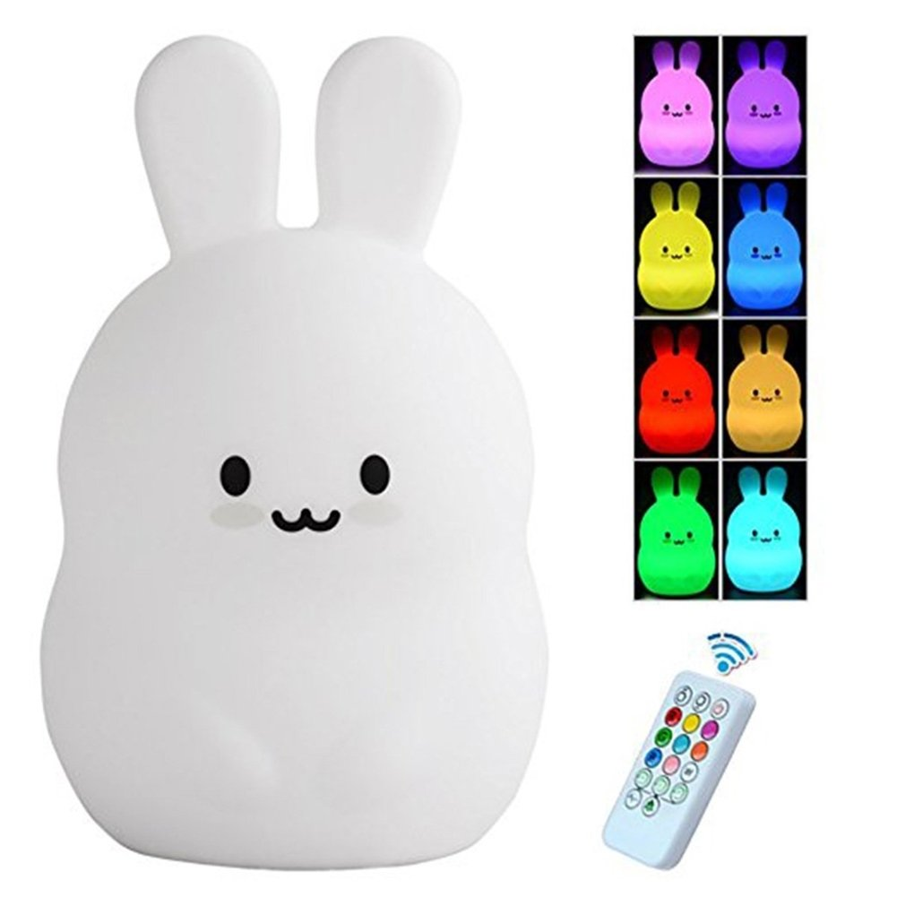 Tecomax LED Kids Night Light Cute Animal Soft Silicone Dimmable Baby Night Light- Warm White/9 Color Gradual Change - USB Rechargeable - with Touch Sensor & Remote Control Bedside Lamp (Rabbit)