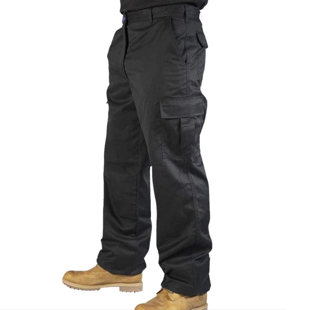 Uneek Clothing Mens Cargo Work Trousers 42 Regular Black