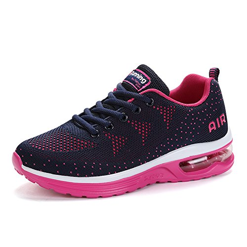 Fashion Sports Athletic Womens Mesh Gym Walk Shoes Mens Running Blue Sneakers Trainers Shoes Pink JEDVOO Outdoor S0qxv5tww