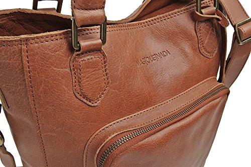MASQUENADA, Donne in pelle Borse a tracolla, Borse a spalla, Maniglia Borse, 28,5 x 33 x 9 cm (L x A x P), Colore: Cognac