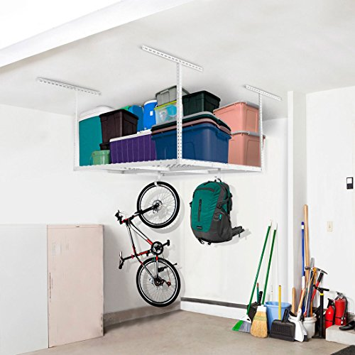 FLEXIMOUNTS 4x4 Overhead Garage Storage Rack Adjustable Ceiling Storage Rack, 48' Length x 48' Width x 40' Height (White)