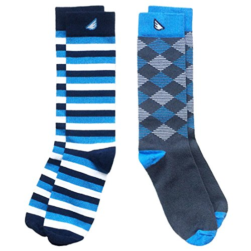 Colorful Fun Patterned USA-made Dress Socks for Men - Sky Blue & White - Cheap Fancy Dress Ideas For Men