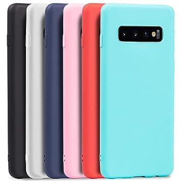 Wanxideng - 6X Funda para Samsung Galaxy S10, Carcasa en Silicona - [ Negro + Blanco Translúcido + Rojo+ Rosado+ Menta Verde + Azul Claro ]
