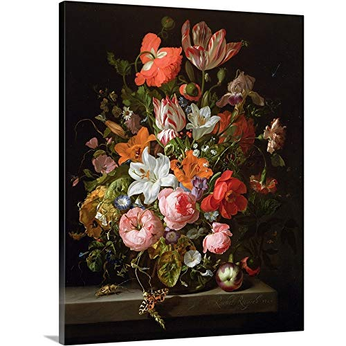 - Rachel (1664-1750) Ruysch Premium Thick-Wrap Canvas Wall Art Print entitled Still life of roses, lilies, tulips and other flowers in a glass vase 16
