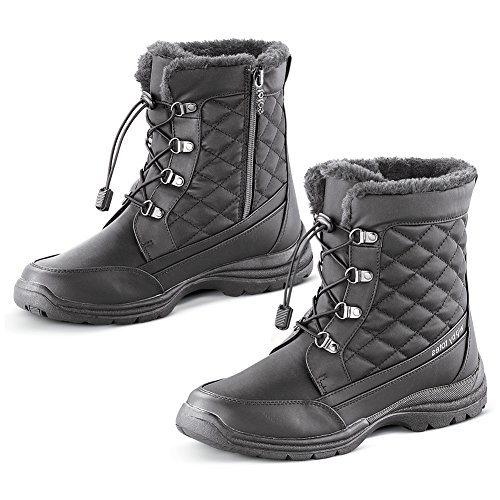 Totes Quilted and Faux Fur Lined Waterproof Winter Boot with Thermal Insulated Footbed - Snow Gear Essentials, Black, 11 (Totes Womens Winter Boots Size 8)