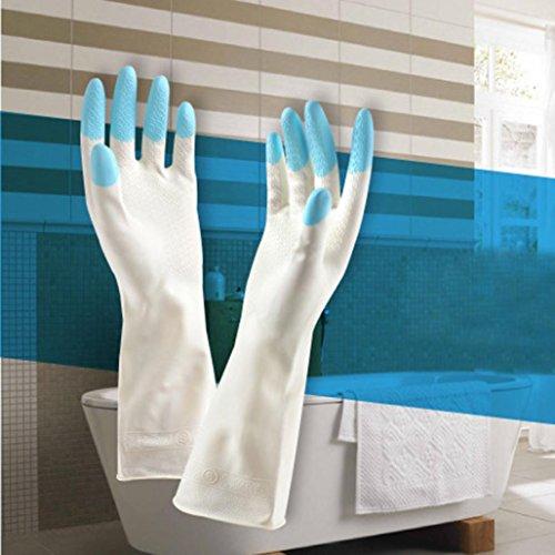 YJYdada Long Sleeve latex Kitchen Wash Dishes Dishwashing Gloves House Cleaning (B)