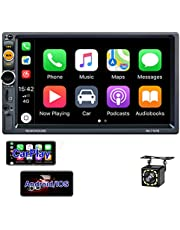 Double Din Car Stereo with CarPlay,EKAT 7Inch Touchscreen Car Radio with Bluetooth TF/USB/AUX Port,Phone Mirror Link,Steering Wheel Controls,External Microphone+ Backup Camera