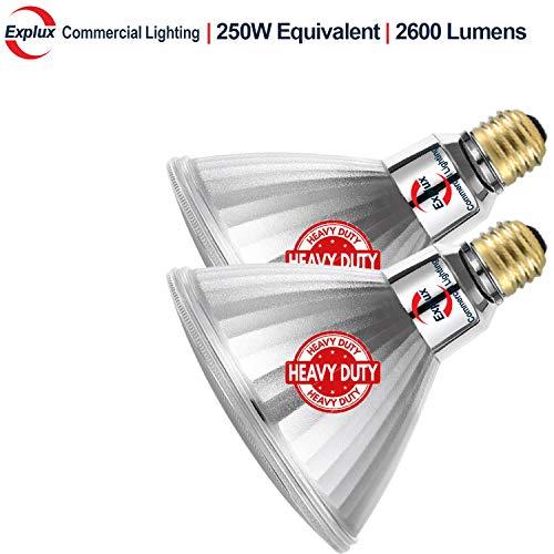 Explux 250W Equivalent Ultra Bright PAR38 LED Flood Light Bulbs, 2600 Lumens, Dimmable, 5000K Daylight, Indoor/Outdoor, - 250w Par38 Flood