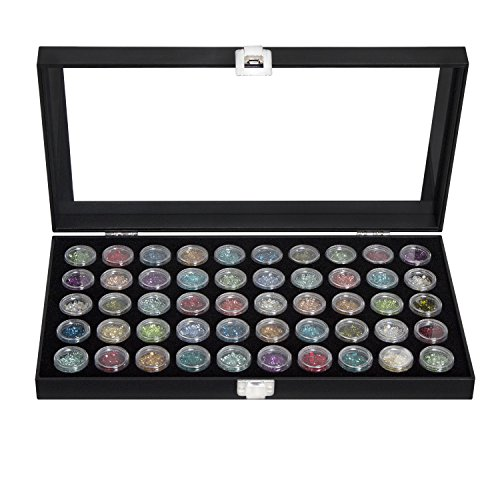 JackCubeDesign Black Color Glass top Leatherette Jewelry Display case with 50 Count Small gem jar Insert Tray in Black - :MK410A