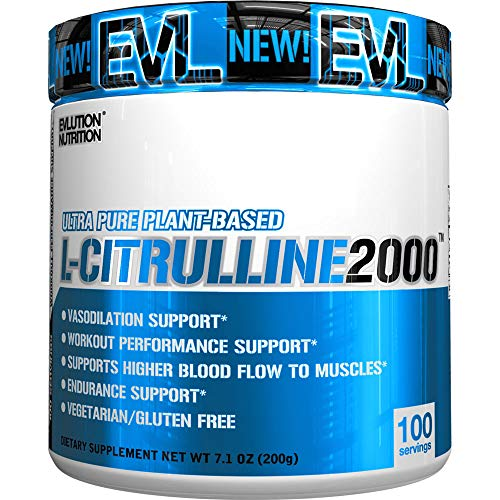 Evlution Nutrition L-Citrulline2000, Ultra-Pure Plant-Based Citrulline Powder Supplement, Enhance Muscle Strength and Vascularity, Powerful NO Booster (100 Vegetarian Servings)