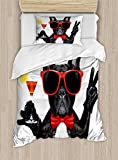 Ambesonne Funny Duvet Cover Set Twin Size, French Bulldog Holding Martini Cocktail Ready for The Party Nightlife Joy Print, Decorative 2 Piece Bedding Set with 1 Pillow Sham, Black Red White