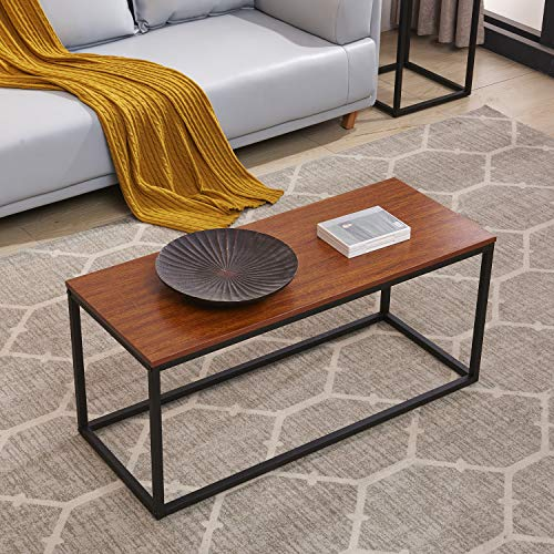 H.J WeDoo Versatile Coffee Tables for Living Room,Mid Century Modern Coffee Table Vintage Sofa Table/Wood Cocktail Table,Easy Assemble,Walnut