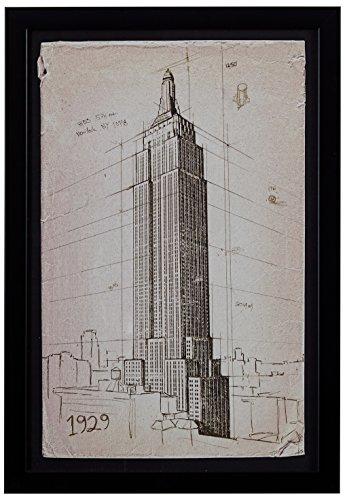 Modern Print of Empire State Building Sketch, Black Frame, 12