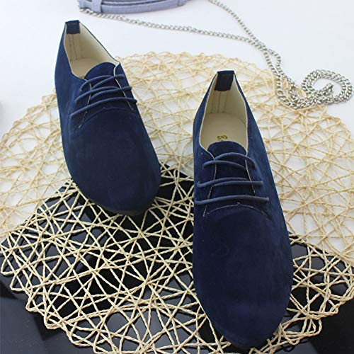 fantaisie bleu femme lacets Ballerines à basique et noir en cuir et plates chaussures ZOw5wf07xq