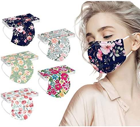 【USA in Stock 】 50 Pack Adults Floral Pattern Disposable Face Masks with Nose Clip for Women and Men, Fashion Universal Outdoor Breathable 3 Ply Face Covering Face Protection Elastic Ear Loops Mask