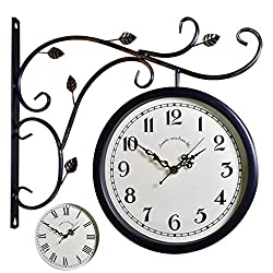 Wall Clock Double Sided Outdoor On Bracket Train Station Round Clock with Rolling Wall Side Decoration Home Decor Metal (Color : A)