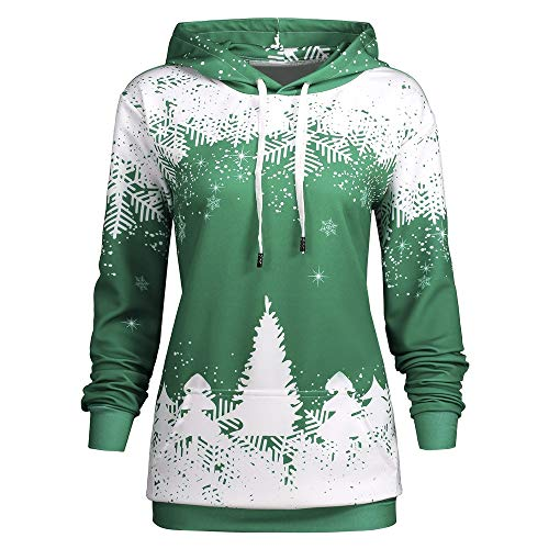 Trendy Winter Plus Size Christmas Snowflake Tree Print Hoodie for Women from Nextmia