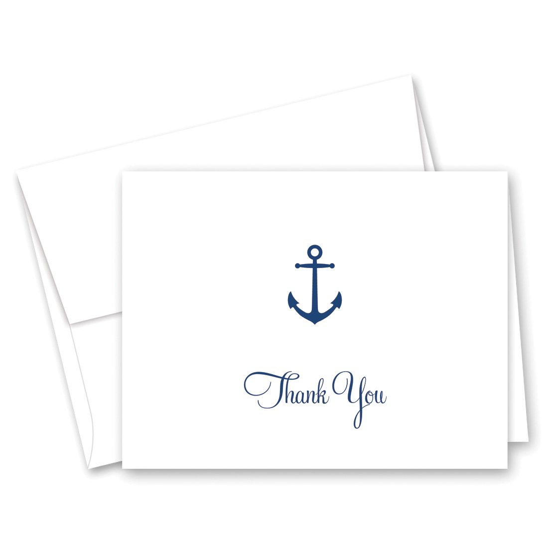 MyExpression.com 50 Cnt Simple Navy Anchor Nautical Thank You Cards