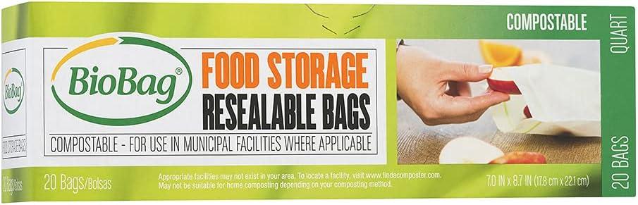 BioBag Resealable Food Storage Bags / 6 Pack / 120-ct.
