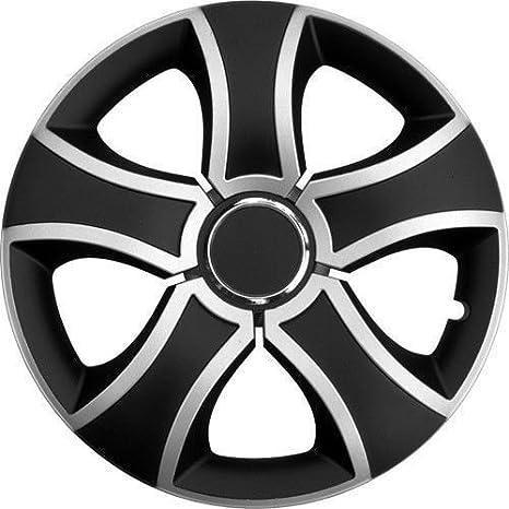 4 x Tapacubos de hasta 14 pulgadas Silver & Black Tapacubos VW, Skoda,