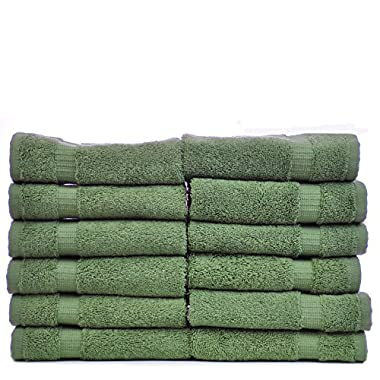 Luxury Hotel & Spa Towel Turkish Cotton (Wash Cloth  - Set of 12, Moss)