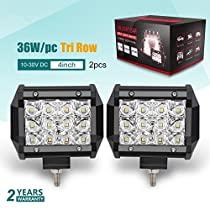 Jiuguang 2PCS 4 Inch LED Light Bar 60W Super Bright Waterproof Cree Chip Driving Light Three Row for Off-road Truck Car ATV SUV Jeep Cabin Boat (4inch2pc)