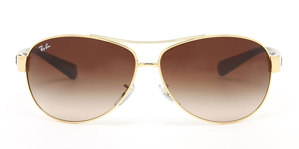 a8b51bc7f4 Amazon.com  Ray Ban Men s Sunglasses RB3386 001 13 Gold Havana Brown  Gradient Lens Aviator 67mm Authentic  Clothing