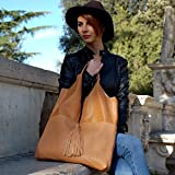 Handbag and Clutch Women Italian Leather Equine color camel handmade Ganza by Amazon ...